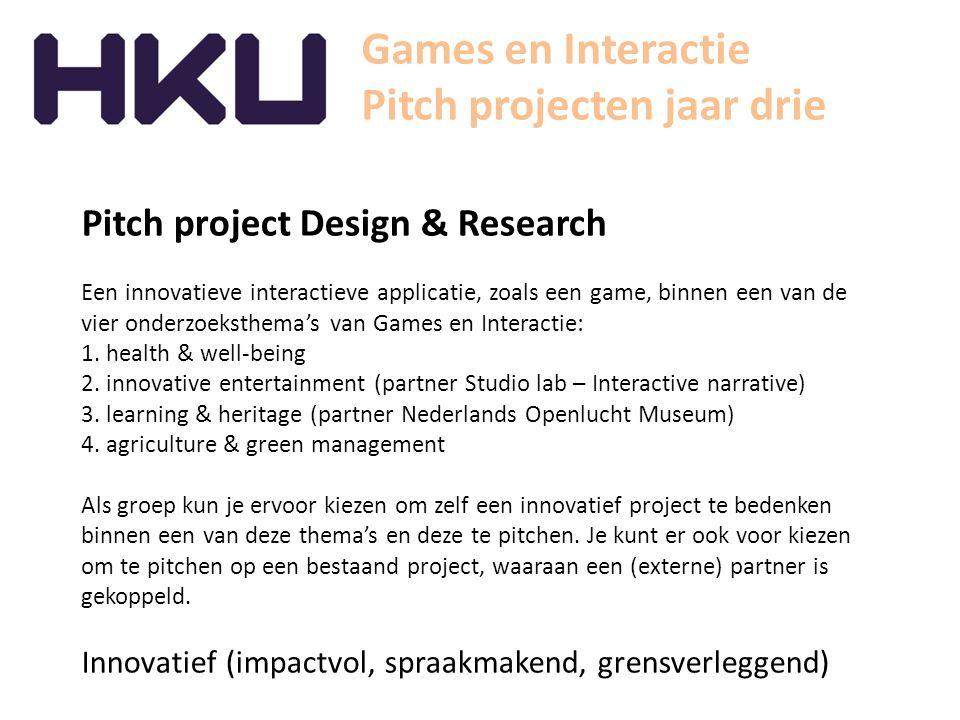 Games en Interactie Pitch projecten jaar drie Pitch project Embedded specialisation Een individueel project waarbij je de kans krijgt om je een semester lang te specialiseren in een onderwerp wat jouw professionele ontwikkeling en ambities ten goede komt.