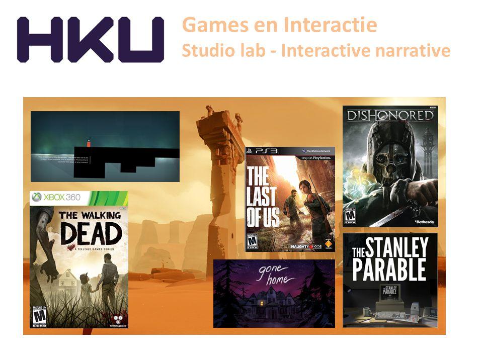 Games en Interactie Studio lab - Interactive narrative Studio lab – interactive narrative > Verdieping in personages, plot en setting door interactie > Welke ontwerpprocessen.