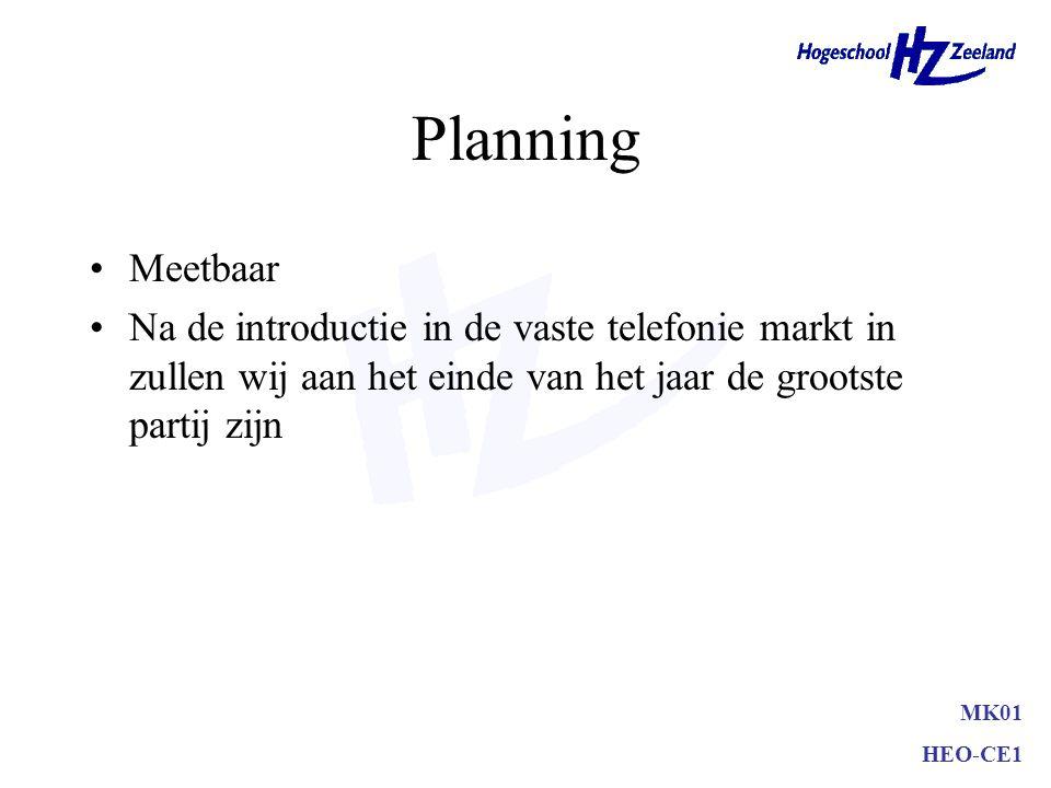 Planning •Onze organisatie zal komend jaar het beste presteren binnen de bio-chemische markt (meetbaar) MK01 HEO-CE1