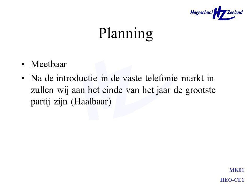 Planning •Meetbaar •Na de introductie in de vaste telefonie markt in zullen wij aan het einde van het jaar de grootste partij zijn MK01 HEO-CE1