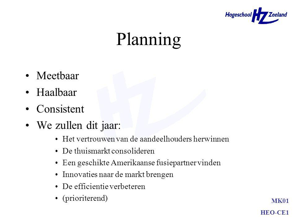 Planning •Meetbaar •Haalbaar •Consistent •We zullen dit jaar: •Het vertrouwen van de aandeelhouders herwinnen •De thuismarkt consolideren •Een geschik