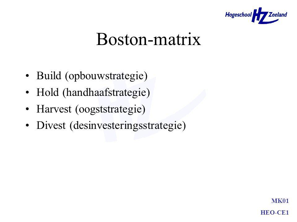 Boston-matrix •Question marks (rechts boven) •Stars (links boven) •Cash cows (links onder) •Dogs (rechts onder) •´Gewone cyclus´begint rechts boven al