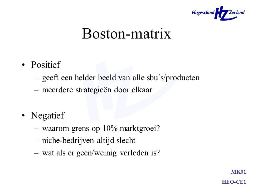 Boston-matrix •Build (opbouwstrategie) •Hold (handhaafstrategie) •Harvest (oogststrategie) •Divest (desinvesteringsstrategie) MK01 HEO-CE1