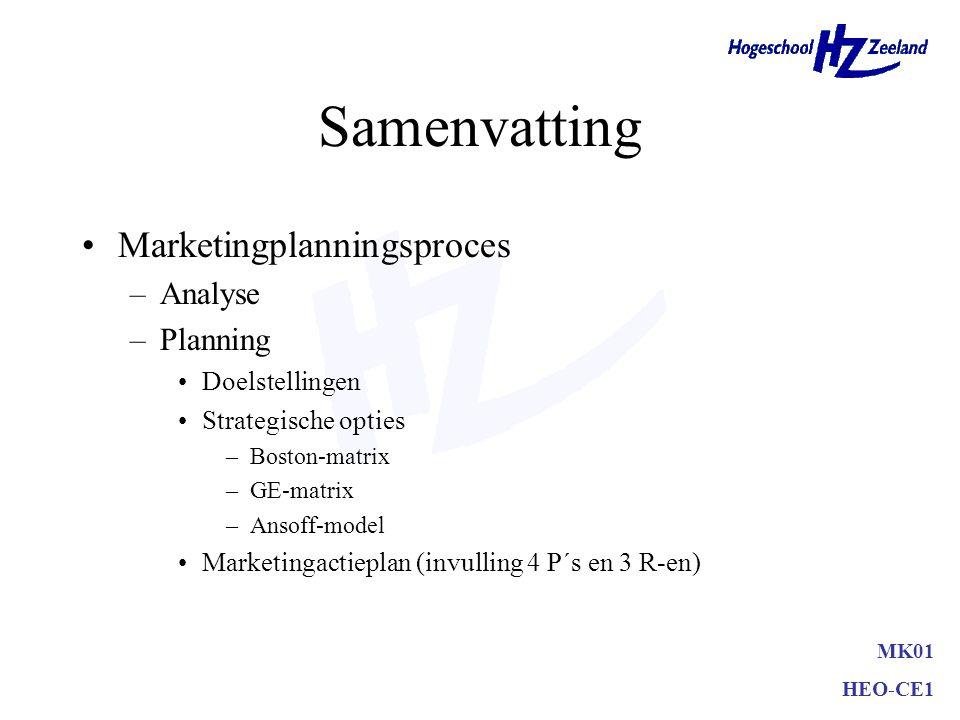 Marketingactieplan •Korte termijn (tot 1 jaar) –zeer gedetailleerd –inclusief budgetten etc. •Lange termijn(2 tot 5 jaar) –minder detail –nadruk op st