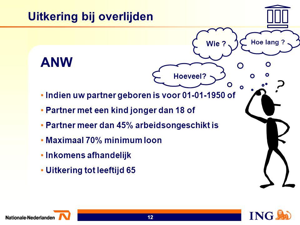 12 Uitkering bij overlijden ANW • Indien uw partner geboren is voor 01-01-1950 of • Partner met een kind jonger dan 18 of • Partner meer dan 45% arbei