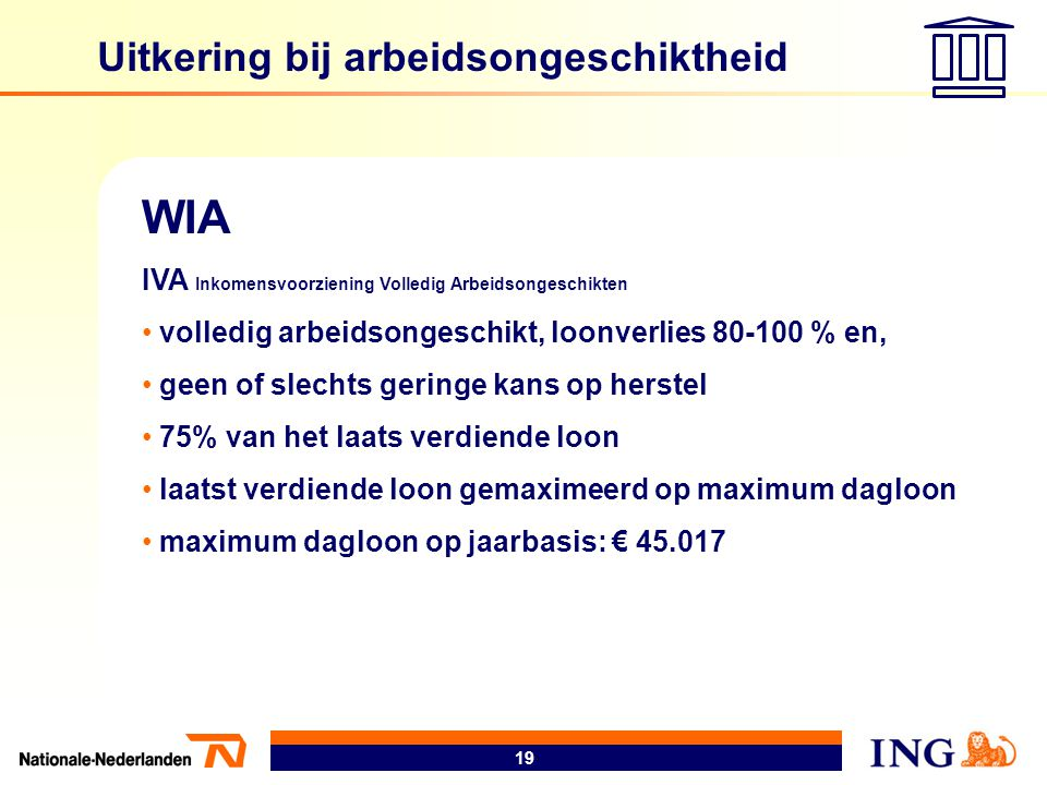19 Uitkering bij arbeidsongeschiktheid WIA IVA Inkomensvoorziening Volledig Arbeidsongeschikten • volledig arbeidsongeschikt, loonverlies 80-100 % en,