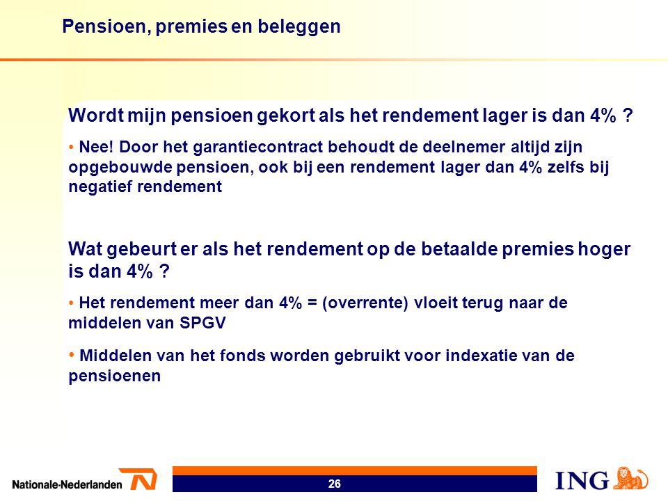 Pensioen, premies en beleggen 26 Wordt mijn pensioen gekort als het rendement lager is dan 4% ? • Nee! Door het garantiecontract behoudt de deelnemer