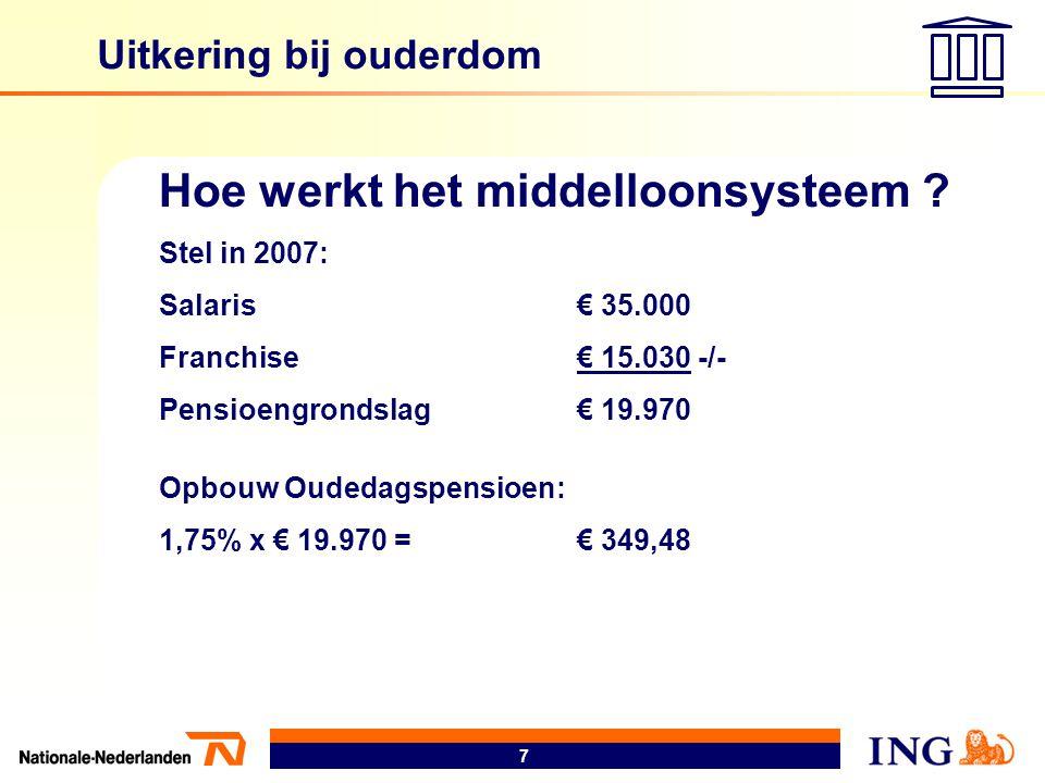 7 Uitkering bij ouderdom Hoe werkt het middelloonsysteem ? Stel in 2007: Salaris€ 35.000 Franchise€ 15.030 -/- Pensioengrondslag€ 19.970 Opbouw Oudeda