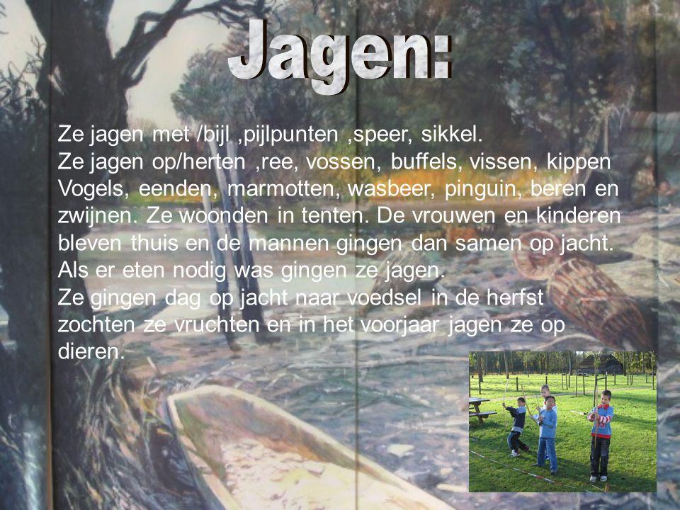 Ze jagen met /bijl,pijlpunten,speer, sikkel. Ze jagen op/herten,ree, vossen, buffels, vissen, kippen Vogels, eenden, marmotten, wasbeer, pinguin, bere