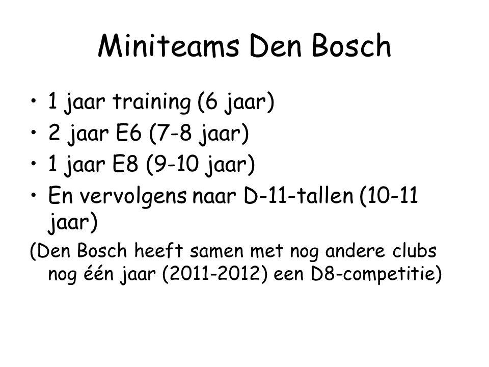 Miniteams Den Bosch •1 jaar training (6 jaar) •2 jaar E6 (7-8 jaar) •1 jaar E8 (9-10 jaar) •En vervolgens naar D-11-tallen (10-11 jaar) (Den Bosch heeft samen met nog andere clubs nog één jaar (2011-2012) een D8-competitie)