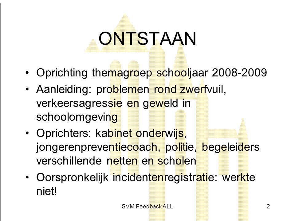 SVM Feedback ALL3 Meting Drie stappen •Schooljaar 2010 -2011 •Bevragen van leerlingen en van onderwijzend & ondersteunend personeel •Diepte-interviews met directieleden •Discussie binnen netoverschrijdende werkgroep
