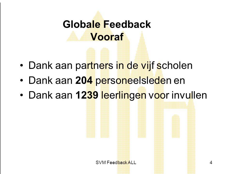 SVM Feedback ALL4 Globale Feedback Vooraf •Dank aan partners in de vijf scholen •Dank aan 204 personeelsleden en •Dank aan 1239 leerlingen voor invullen