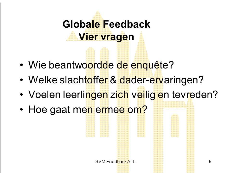SVM Feedback ALL5 Globale Feedback Vier vragen •Wie beantwoordde de enquête.