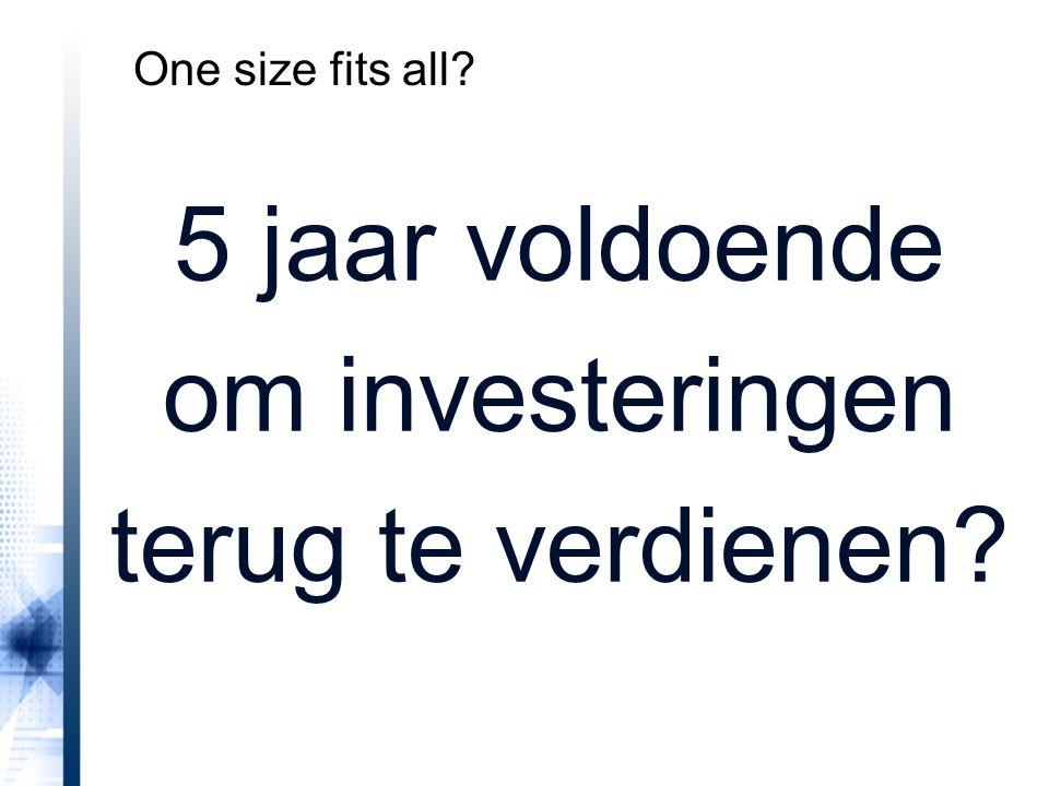 5 jaar voldoende om investeringen terug te verdienen? One size fits all?