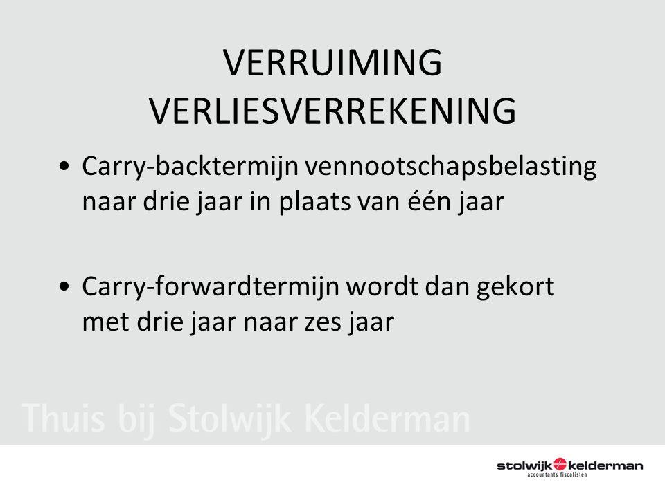 VERRUIMING VERLIESVERREKENING •Carry-backtermijn vennootschapsbelasting naar drie jaar in plaats van één jaar •Carry-forwardtermijn wordt dan gekort m