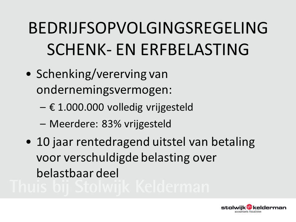 BEDRIJFSOPVOLGINGSREGELING SCHENK- EN ERFBELASTING •Schenking/vererving van ondernemingsvermogen: –€ 1.000.000 volledig vrijgesteld –Meerdere: 83% vri