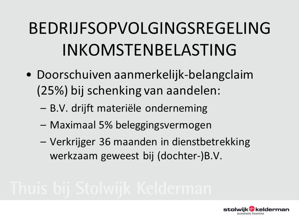 BEDRIJFSOPVOLGINGSREGELING INKOMSTENBELASTING •Doorschuiven aanmerkelijk-belangclaim (25%) bij schenking van aandelen: –B.V. drijft materiële ondernem