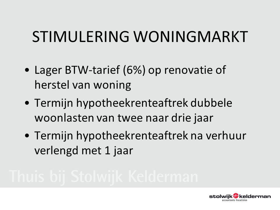 STIMULERING WONINGMARKT •Lager BTW-tarief (6%) op renovatie of herstel van woning •Termijn hypotheekrenteaftrek dubbele woonlasten van twee naar drie