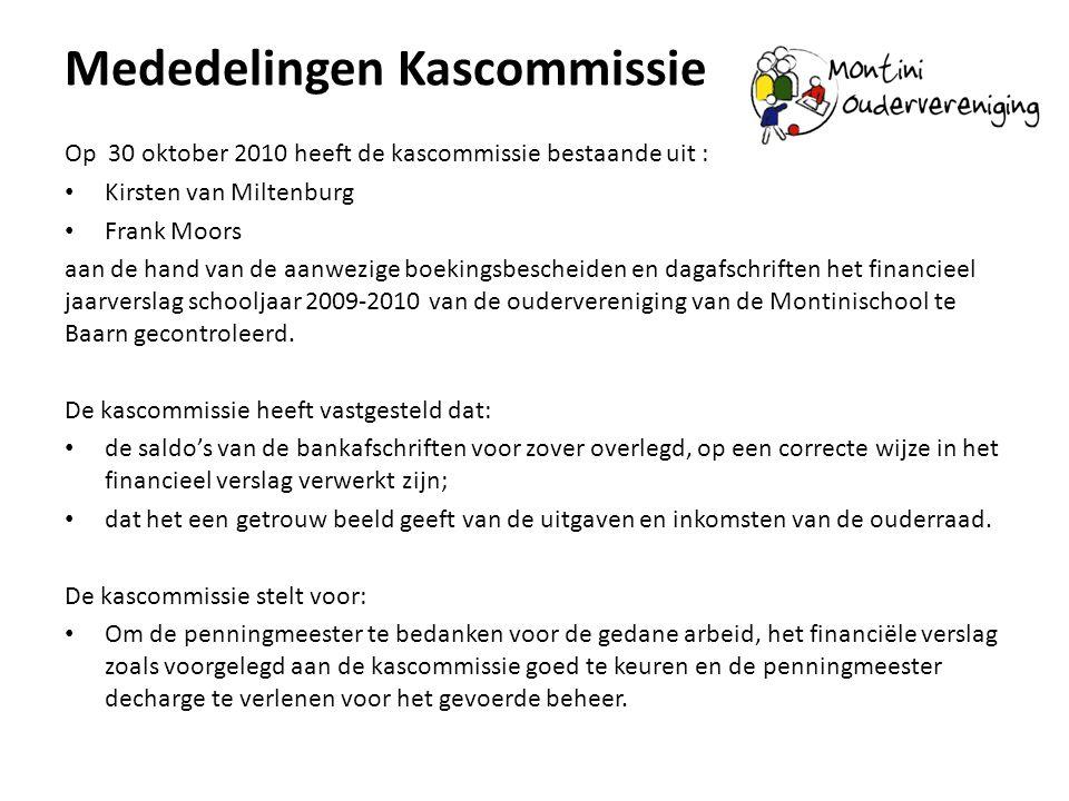 Mededelingen Kascommissie Op 30 oktober 2010 heeft de kascommissie bestaande uit : • Kirsten van Miltenburg • Frank Moors aan de hand van de aanwezige