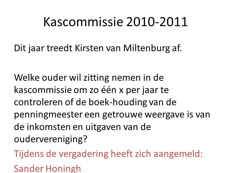 Kascommissie 2010-2011 Dit jaar treedt Kirsten van Miltenburg af. Welke ouder wil zitting nemen in de kascommissie om zo één x per jaar te controleren