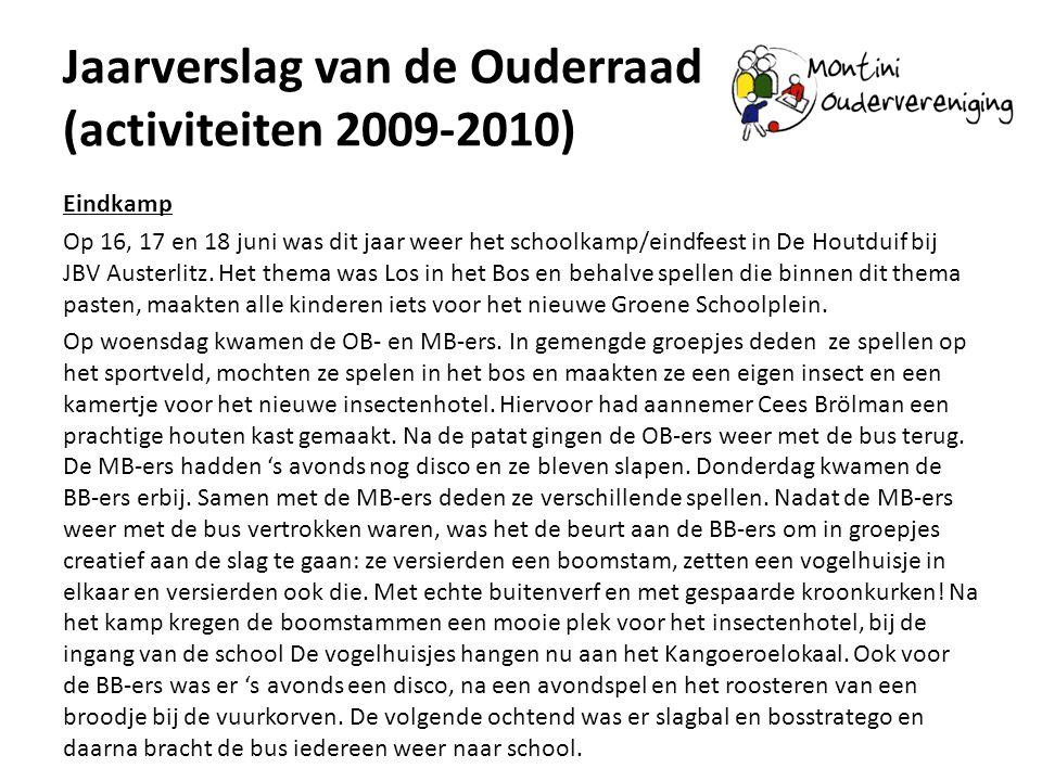 Jaarverslag van de Ouderraad (activiteiten 2009-2010) Eindkamp Op 16, 17 en 18 juni was dit jaar weer het schoolkamp/eindfeest in De Houtduif bij JBV