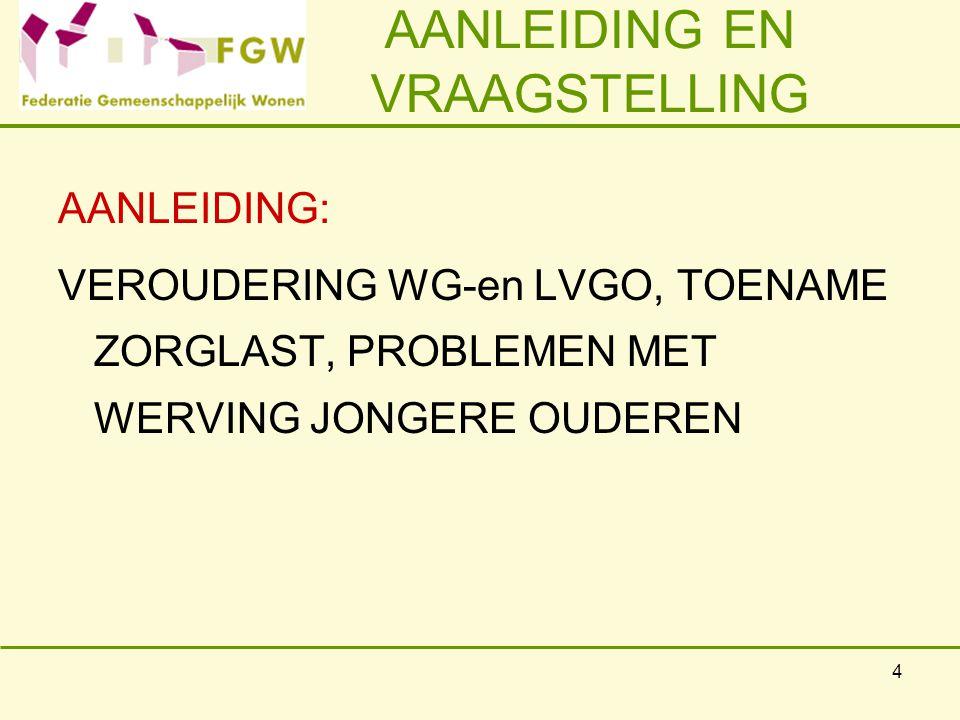 4 AANLEIDING EN VRAAGSTELLING AANLEIDING: VEROUDERING WG-en LVGO, TOENAME ZORGLAST, PROBLEMEN MET WERVING JONGERE OUDEREN