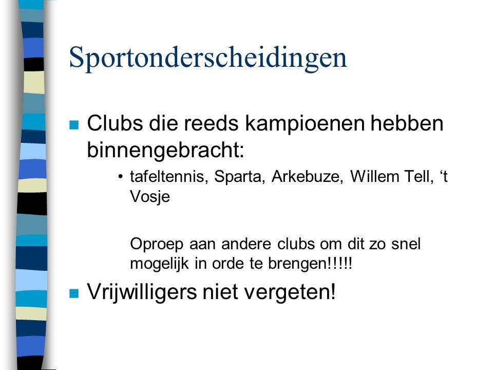 Sportonderscheidingen n Clubs die reeds kampioenen hebben binnengebracht: •tafeltennis, Sparta, Arkebuze, Willem Tell, 't Vosje Oproep aan andere club