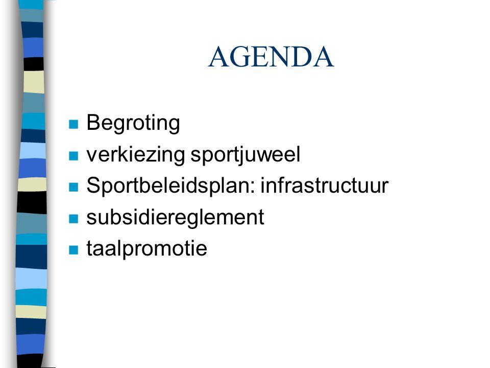 AGENDA n Begroting n verkiezing sportjuweel n Sportbeleidsplan: infrastructuur n subsidiereglement n taalpromotie