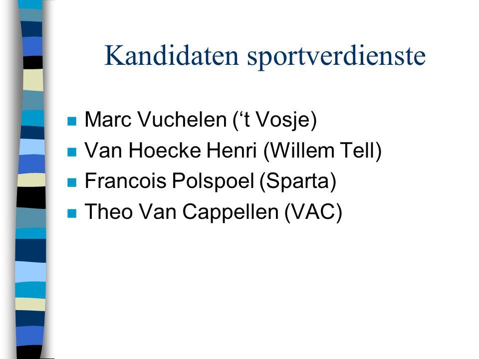 Kandidaten sportverdienste n Marc Vuchelen ('t Vosje) n Van Hoecke Henri (Willem Tell) n Francois Polspoel (Sparta) n Theo Van Cappellen (VAC)