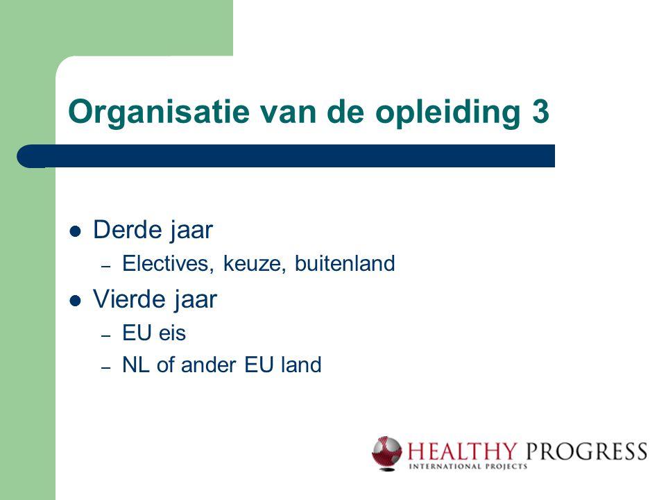 Organisatie van de opleiding 3  Derde jaar – Electives, keuze, buitenland  Vierde jaar – EU eis – NL of ander EU land
