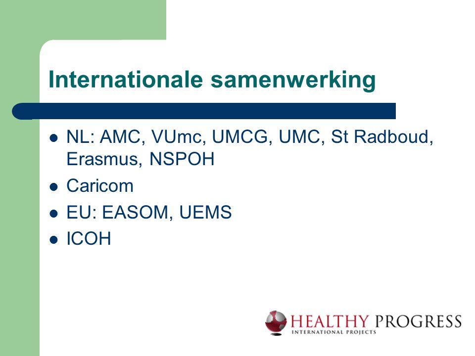 Internationale samenwerking  NL: AMC, VUmc, UMCG, UMC, St Radboud, Erasmus, NSPOH  Caricom  EU: EASOM, UEMS  ICOH