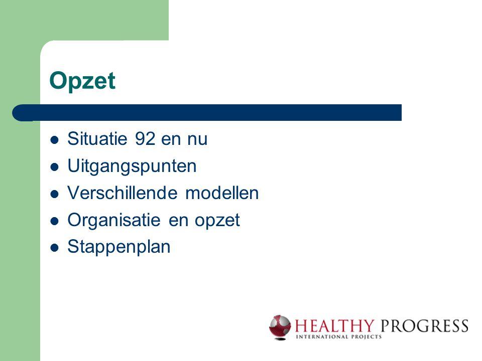 Opzet  Situatie 92 en nu  Uitgangspunten  Verschillende modellen  Organisatie en opzet  Stappenplan