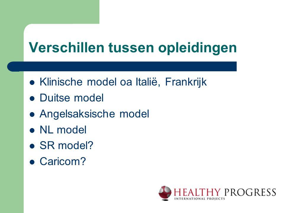 Verschillen tussen opleidingen  Klinische model oa Italië, Frankrijk  Duitse model  Angelsaksische model  NL model  SR model?  Caricom?