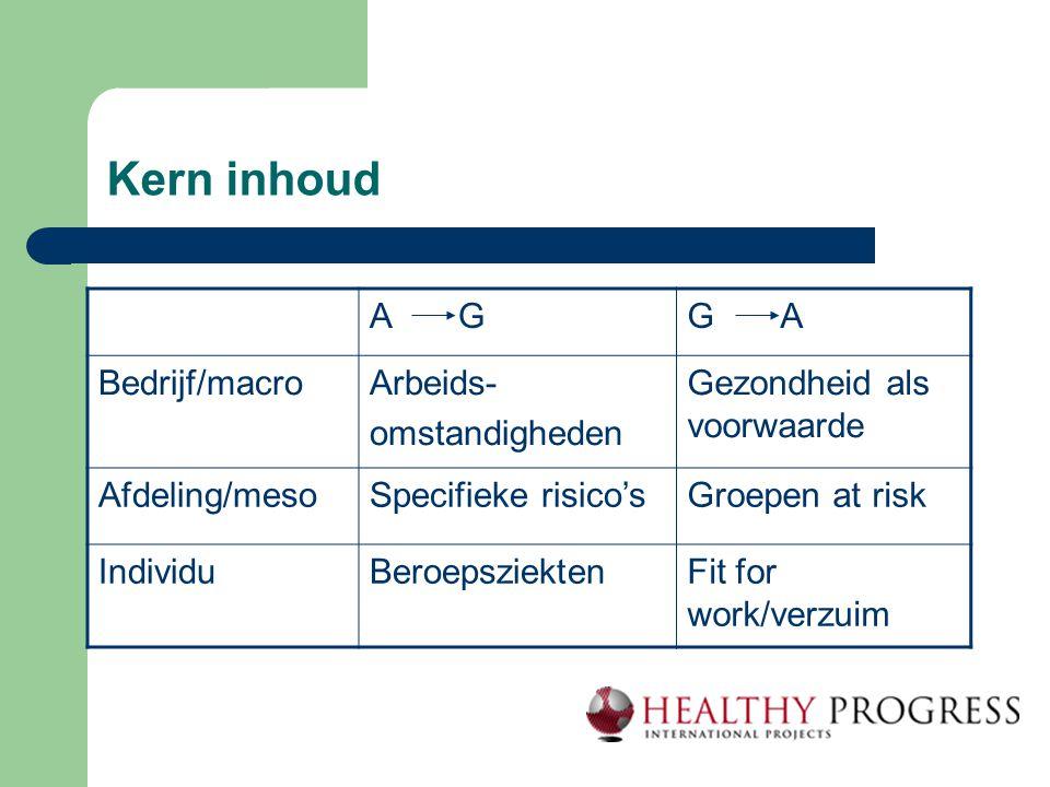Kern inhoud A GG A Bedrijf/macroArbeids- omstandigheden Gezondheid als voorwaarde Afdeling/mesoSpecifieke risico'sGroepen at risk IndividuBeroepsziekt