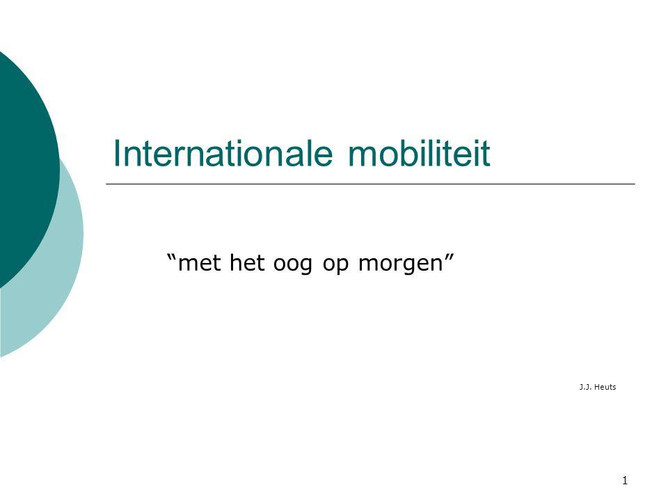 """1 Internationale mobiliteit """"met het oog op morgen"""" J.J. Heuts"""