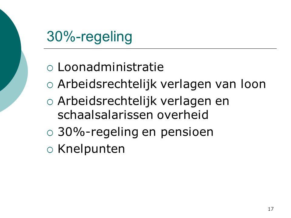 17 30%-regeling  Loonadministratie  Arbeidsrechtelijk verlagen van loon  Arbeidsrechtelijk verlagen en schaalsalarissen overheid  30%-regeling en