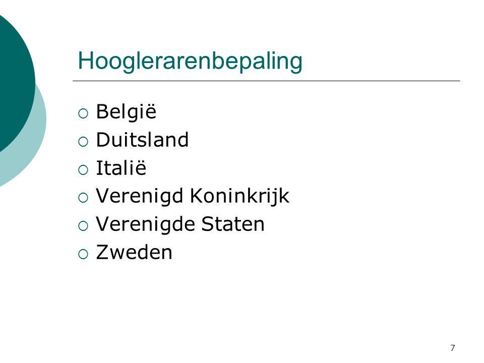 7 Hooglerarenbepaling  België  Duitsland  Italië  Verenigd Koninkrijk  Verenigde Staten  Zweden