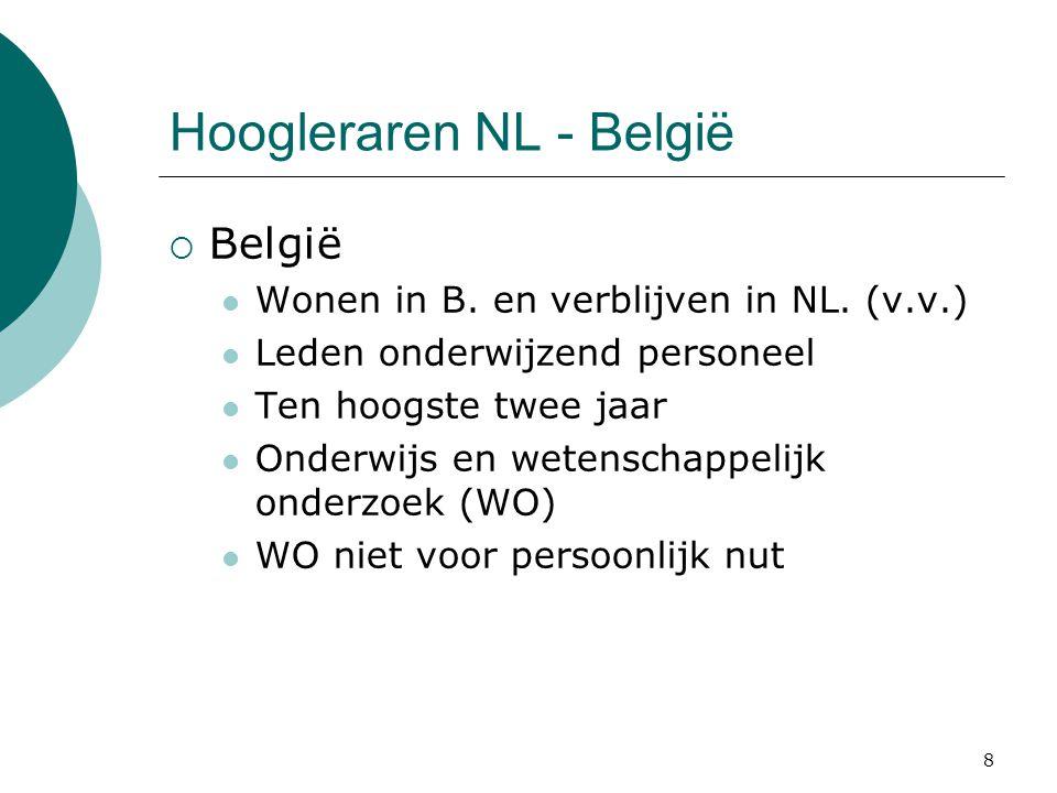 8 Hoogleraren NL - België  België  Wonen in B. en verblijven in NL. (v.v.)  Leden onderwijzend personeel  Ten hoogste twee jaar  Onderwijs en wet