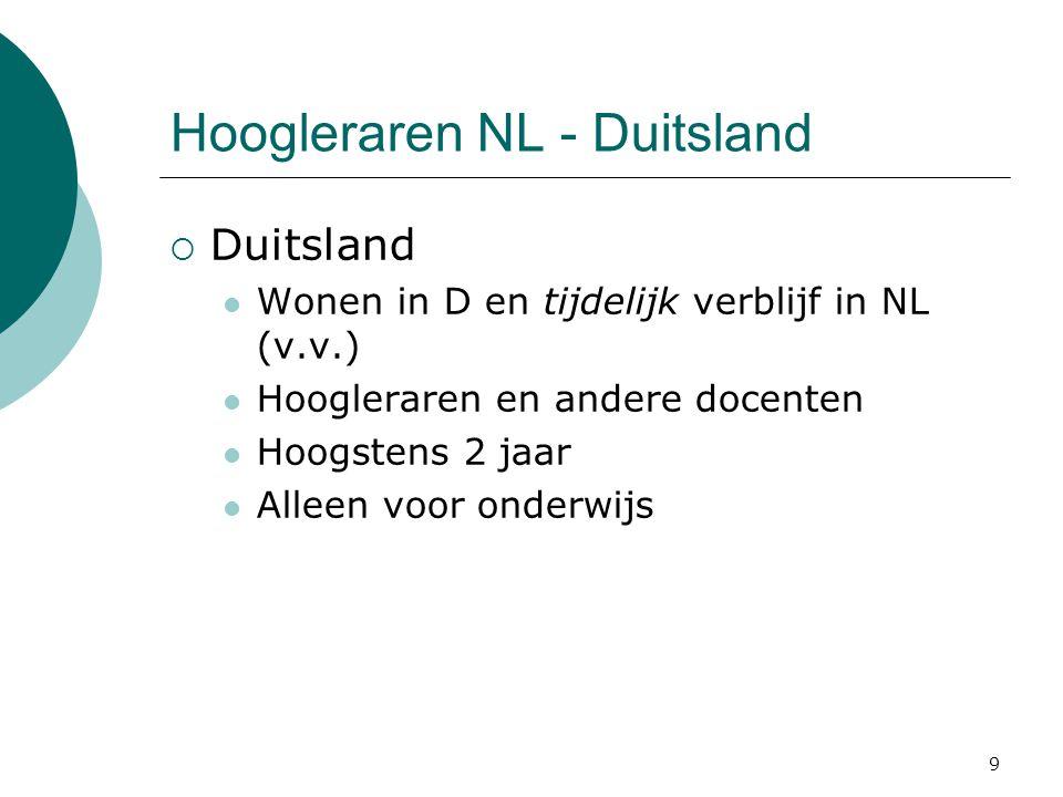 9 Hoogleraren NL - Duitsland  Duitsland  Wonen in D en tijdelijk verblijf in NL (v.v.)  Hoogleraren en andere docenten  Hoogstens 2 jaar  Alleen