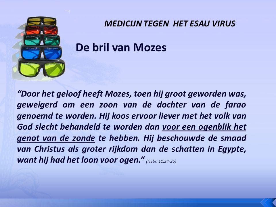 De bril van Mozes Door het geloof heeft Mozes, toen hij groot geworden was, geweigerd om een zoon van de dochter van de farao genoemd te worden.