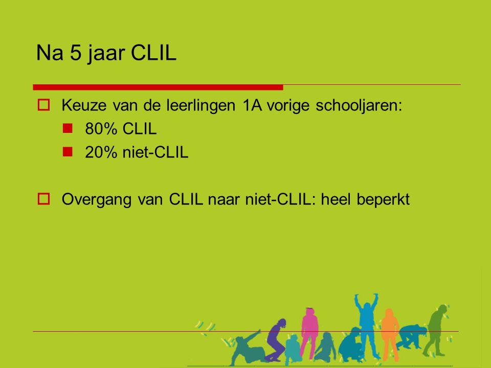 Na 5 jaar CLIL  Keuze van de leerlingen 1A vorige schooljaren:  80% CLIL  20% niet-CLIL  Overgang van CLIL naar niet-CLIL: heel beperkt