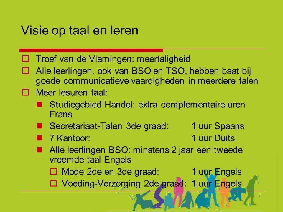 Visie op taal en leren  Troef van de Vlamingen: meertaligheid  Alle leerlingen, ook van BSO en TSO, hebben baat bij goede communicatieve vaardighede