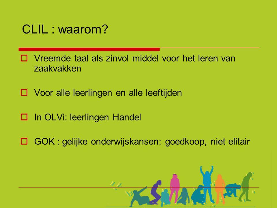 CLIL : waarom?  Vreemde taal als zinvol middel voor het leren van zaakvakken  Voor alle leerlingen en alle leeftijden  In OLVi: leerlingen Handel 