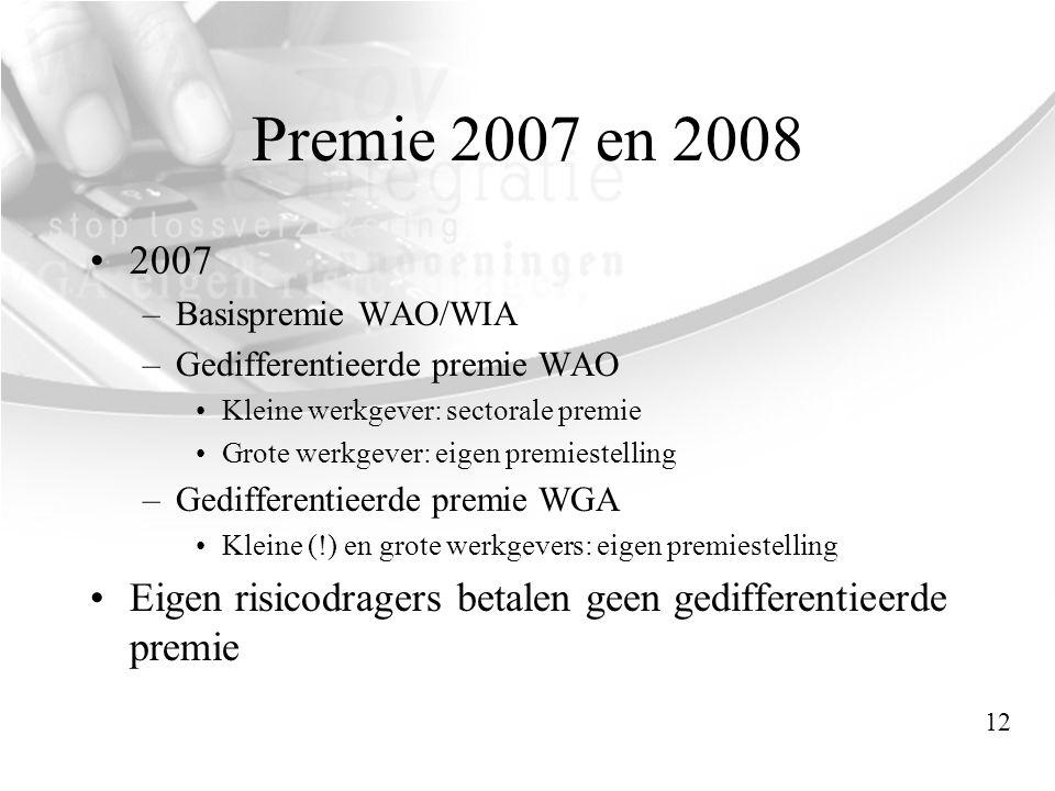 Premie 2007 en 2008 •2007 –Basispremie WAO/WIA –Gedifferentieerde premie WAO •Kleine werkgever: sectorale premie •Grote werkgever: eigen premiestellin