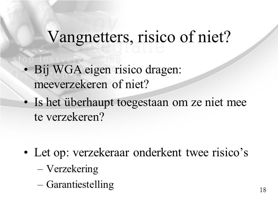 Vangnetters, risico of niet? •Bij WGA eigen risico dragen: meeverzekeren of niet? •Is het überhaupt toegestaan om ze niet mee te verzekeren? •Let op: