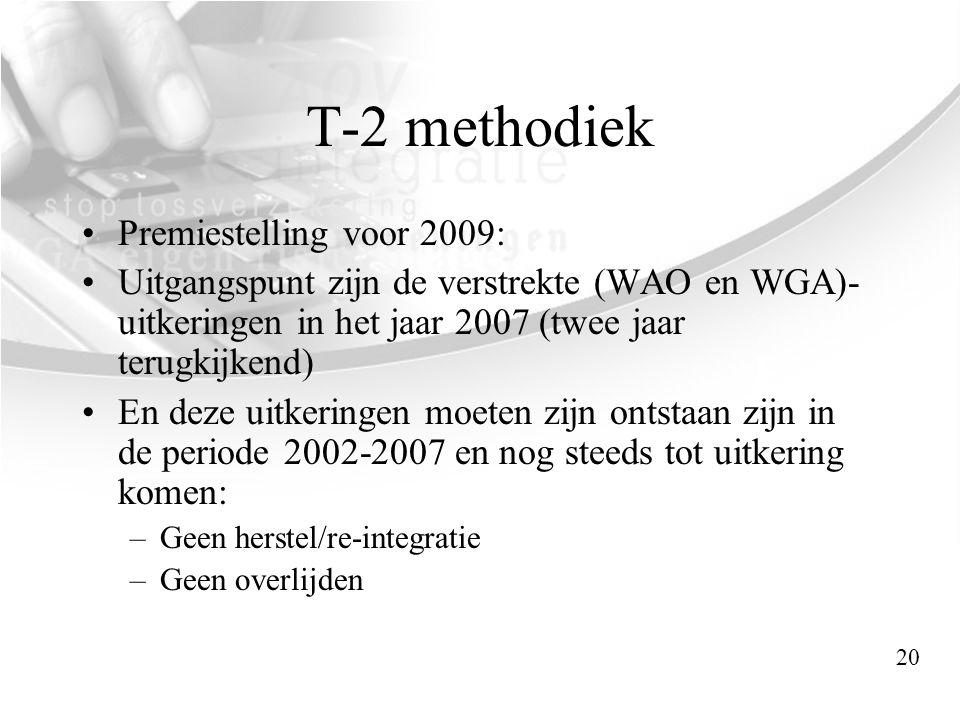 T-2 methodiek •Premiestelling voor 2009: •Uitgangspunt zijn de verstrekte (WAO en WGA)- uitkeringen in het jaar 2007 (twee jaar terugkijkend) •En deze