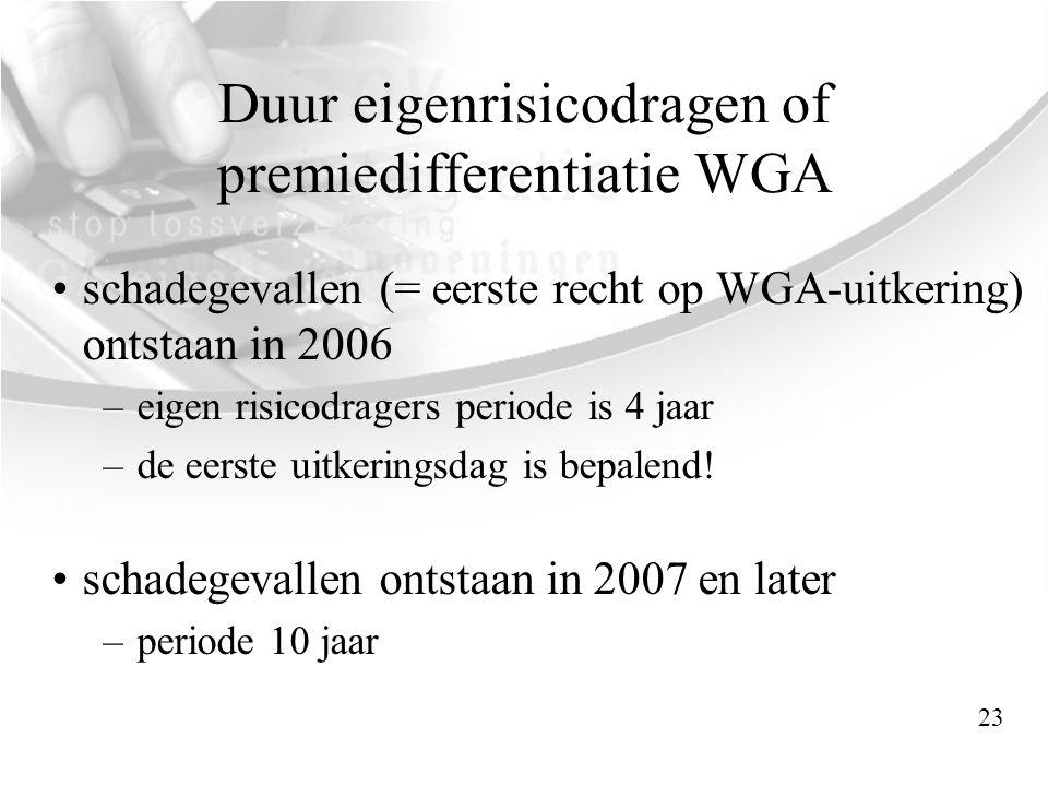 Duur eigenrisicodragen of premiedifferentiatie WGA •schadegevallen (= eerste recht op WGA-uitkering) ontstaan in 2006 –eigen risicodragers periode is