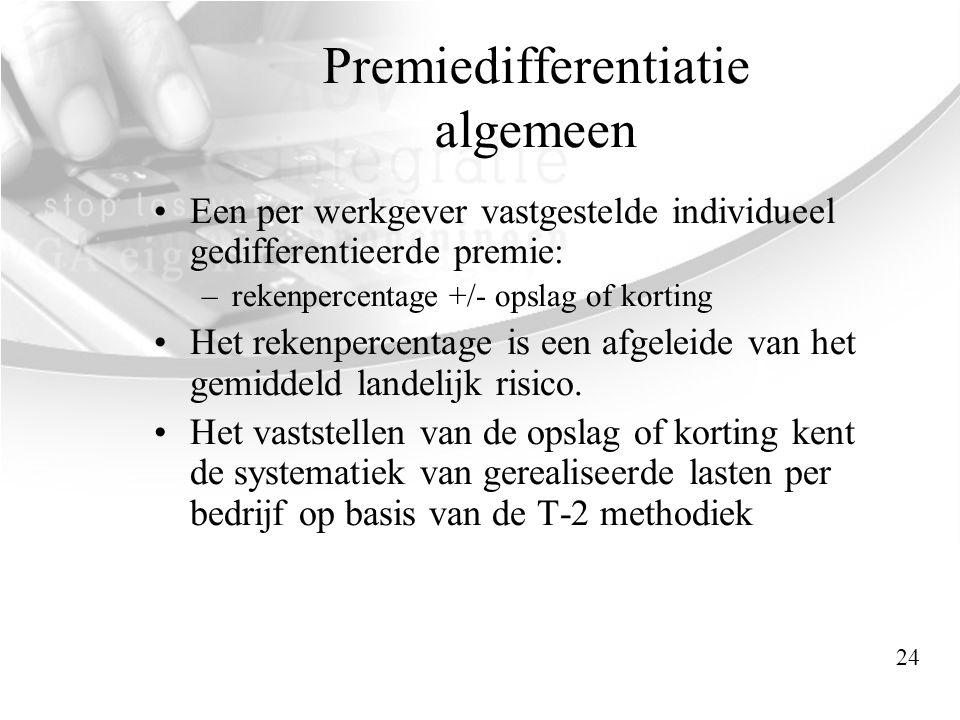 Premiedifferentiatie algemeen •Een per werkgever vastgestelde individueel gedifferentieerde premie: –rekenpercentage +/- opslag of korting •Het rekenp