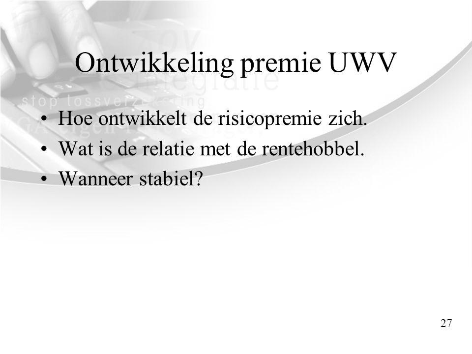 Ontwikkeling premie UWV •Hoe ontwikkelt de risicopremie zich. •Wat is de relatie met de rentehobbel. •Wanneer stabiel? 27