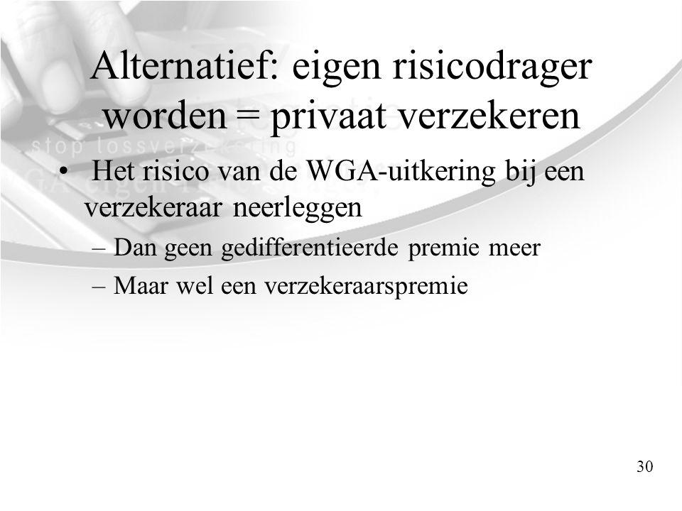 Alternatief: eigen risicodrager worden = privaat verzekeren • Het risico van de WGA-uitkering bij een verzekeraar neerleggen –Dan geen gedifferentieer